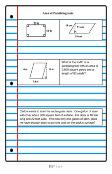 6th Grade Geometry Unit Review Practice Booklet with Graphing Equations Spiral