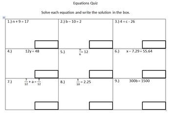 6th Grade Equations Quiz