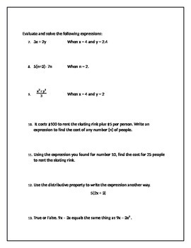 6th Grade Equations Test