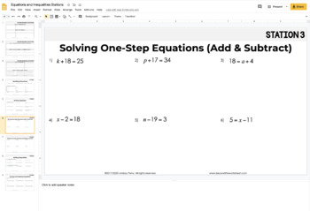 6th Grade Equations and Inequalities Stations: 6.EE.5, 6.EE.7, 6.EE.8, 6.EE.9