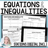 6th Grade Equations and Inequalities Stations: 6.EE.5, 6.E