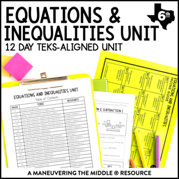 6th Grade Equations and Inequalities Unit: TEKS 6.9A, 6.9B, 6.9C, 6.10A, 6.10B