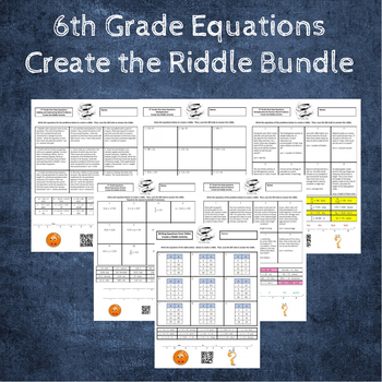 6th Grade: Equations with Word Problems Create the Riddle Activity Bundle