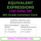 6th Grade Equivalent Expressions Notes Set