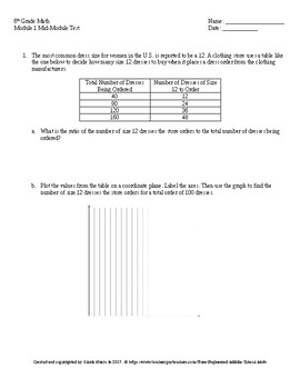 Eureka Math 6th Grade Mid-Module 1 Test