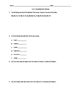 6th Grade Everyday Math Unit 1 Test Review