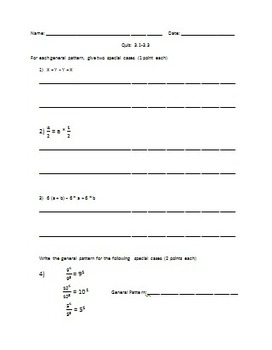 6th Grade Everyday Math Unit 3 3.1-3.3 Order of Ops and Properties QUIZ EDITABLE
