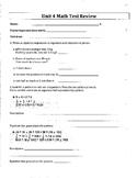 6th Grade Everyday Mathematics / EDM (4) / Math Unit 4 Test Review and Key