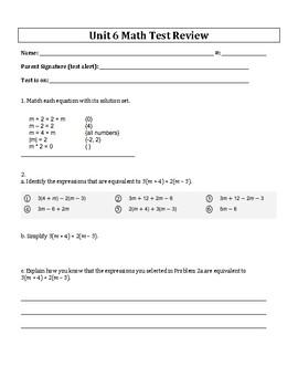 6th Grade Everyday Mathematics / EDM (4) / Math Unit 6 Tes