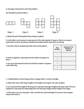 6th Grade Everyday Mathematics / EDM (4) / Math Unit 8 Test Review and Key