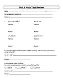 6th Grade Everyday Mathematics / EDM (4) / Math Unit 3 Test Review and Key