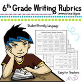 6th Grade Evidence Based Rubrics Common Core *Writing Workshop*