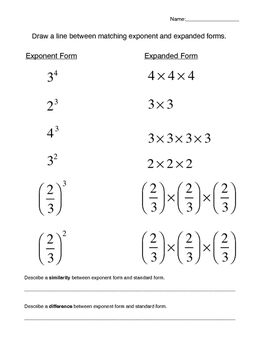 6th Grade Exponent and Expanded Form Matching