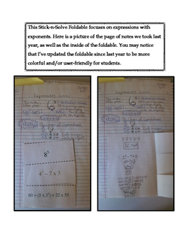 6th Grade Exponents Lesson: FOLDABLE & Homework