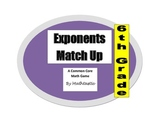 6th Grade Exponents Match Up Game for Common Core