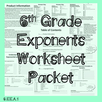 6th Grade Exponents Worksheet Packet