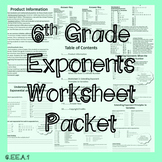 6th Grade Exponents Worksheet Packet
