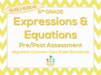 6th Grade Expressions & Equations (6.EE.1 - 6.EE.4) Common Core Test Assessment