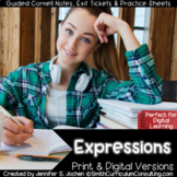 6th Grade Expressions Guided Cornell Notes Bundle | Distan
