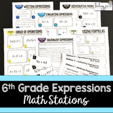 6th Grade Math Expressions Stations: 5.OA.1, 6.EE.1, 6.EE.2, 6.EE.4