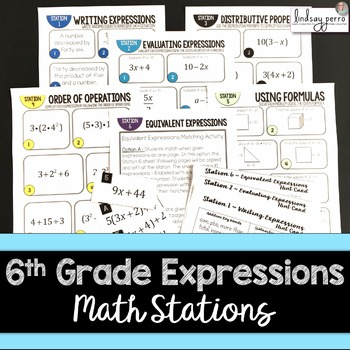6th Grade Expressions Math Stations