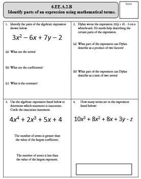 6th Grade Math Common Core Expressions and Equations Assessments