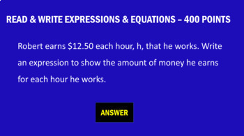 6th Grade Expressions and Equations - Game Show Review Game
