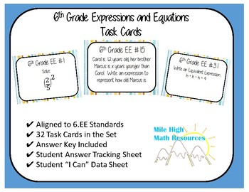 6th Grade Expressions and Equations Task Cards