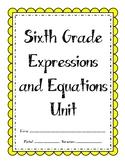 6th Grade Expressions and Equations Unit (Bundle)