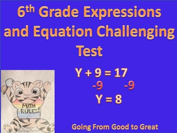 6th Grade Expressions/Equations Challenging Math Test