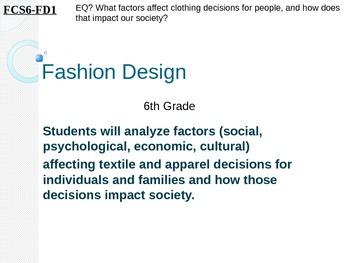 6th Grade FCSFashion Design Unit PowerPoint Lessons