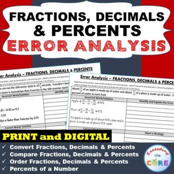 FRACTIONS, DECIMALS, PERCENTS Word Problems -  Error Analysis  (Find the Error)