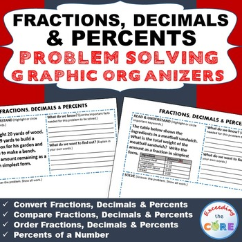 FRACTIONS, DECIMALS, and PERCENTS Word Problems with Graphic Organizer