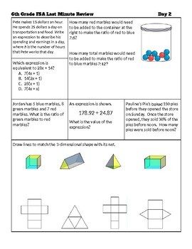 6th Grade Math Fsa Review Packet Answer Key