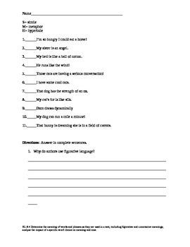 6th Grade Figurative Language Notes and Quiz