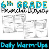 6th Grade Financial Literacy Warmups or Bellringers