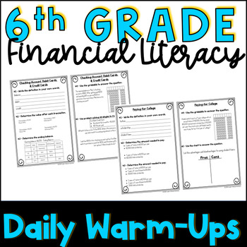 6th Grade Financial Literacy Warmups or Bellringers