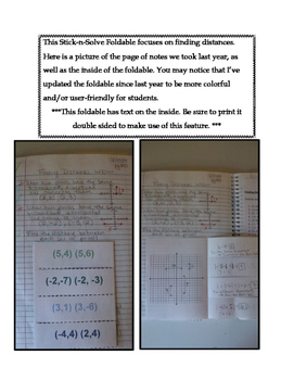 6th Grade Finding Distances Lesson: FOLDABLE & Homework