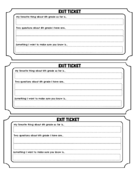 6th Grade First Week of School Exit Slip