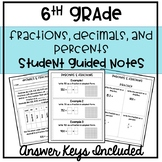 6th Grade Fractions, Decimals & Percents Guided Notes