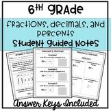 6th Grade Fractions, Decimals & Percents Guided Notes