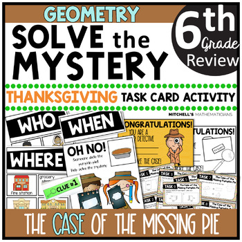 6th Grade GEOMETRY Solve The Mystery Thanksgiving Task Card Activity