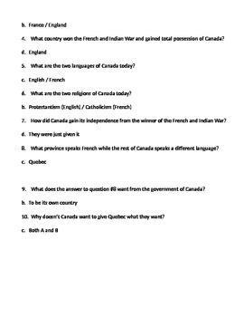 6th Grade GPS Social Studies Quizzes (Canada & Australia)
