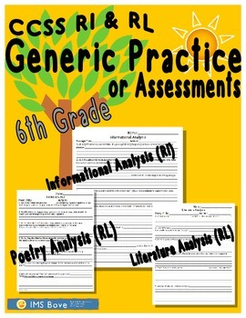 6th Grade Generic CCSS Reading Analysis Practice/Assessments