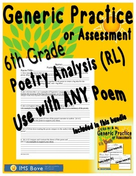 6th Grade Generic Poetry Analysis Practice or Assessment