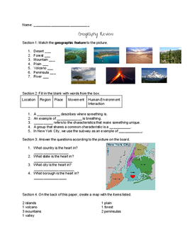 6th Grade Geography Guided Notes, Review and Quiz