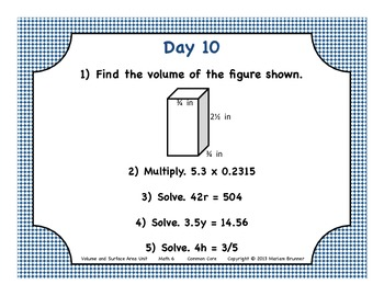 6th Grade Geometry - 20 Days of Warm Ups: Common Core Standards
