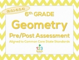 6th Grade Geometry (6.G.1 - 6.G.4) Common Core Pre/Post Test Assessment