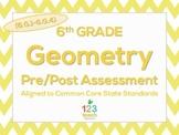 6th Grade Geometry (6.G.1 - 6.G.4) Common Core Pre/Post Test Assessment