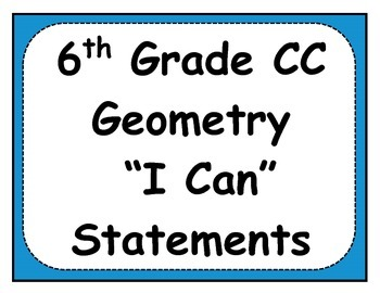 6th Grade Geometry Objectives Posters and Journals Checklist